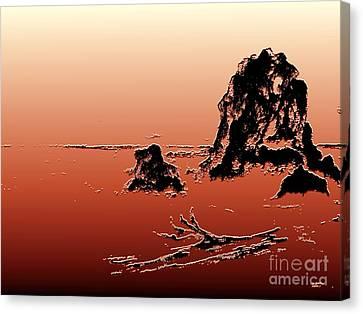 Beach Log Canvas Print by Carol Grimes