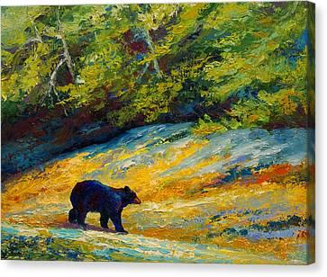 Beach Lunch - Black Bear Canvas Print by Marion Rose