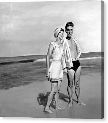 Shoreline Old Men Canvas Print - Beach by Natalie Mae Richards