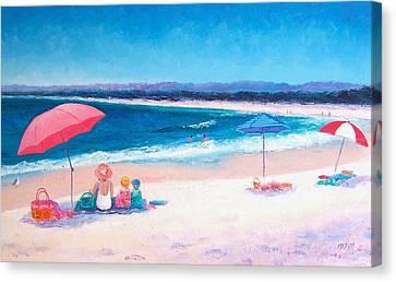 Beach Painting - Beach Umbrellas Canvas Print by Jan Matson