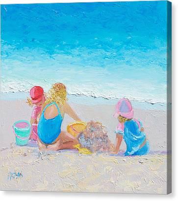 Beach Painting - Building Sandcastles Canvas Print