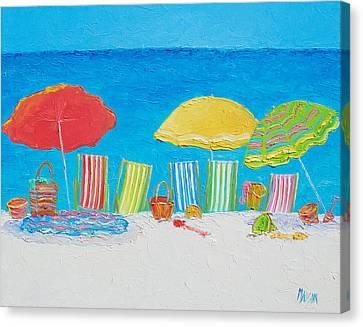 Beach Painting - Deck Chairs Canvas Print by Jan Matson