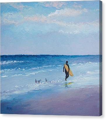 Beach Painting - The Lone Surfer Canvas Print by Jan Matson