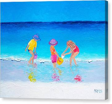 Beach Painting - Water Play  Canvas Print