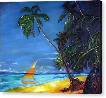 Beach Palm Sailboat Canvas Print by Gregory Allen Page