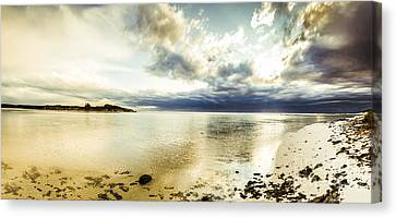 Beach Panorama Of A Sunrise Over The Sea Canvas Print by Jorgo Photography - Wall Art Gallery