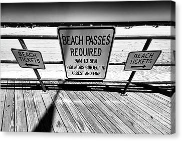 Canvas Print - Beach Passes Required by John Rizzuto