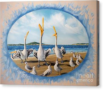 Canvas Print featuring the painting Beach Platoon by Sigrid Tune
