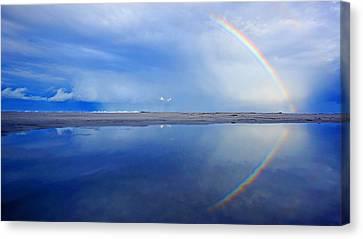 Beach Rainbow Reflection Canvas Print