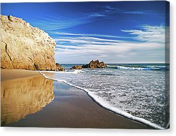 Beach Reflections Canvas Print by Aron Kearney