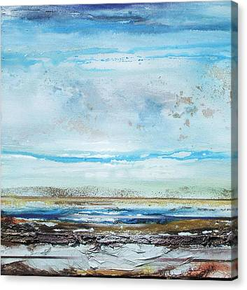 Beach Rhythms And  Textures Northumberland Canvas Print by Mike   Bell