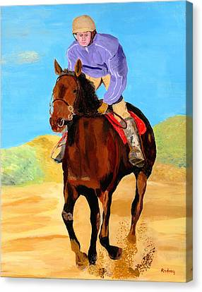 Canvas Print featuring the painting Beach Rider by Rodney Campbell