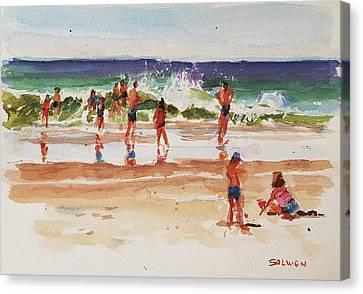 Beach Scene, Afternoon Canvas Print by Peter Salwen