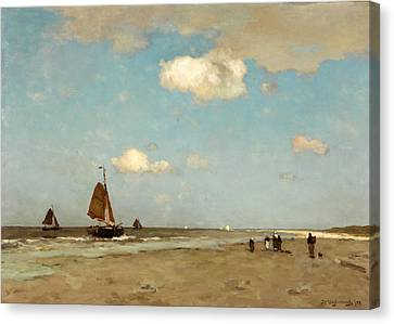 Canvas Print featuring the painting Beach Scene by Jan Hendrik Weissenbruch