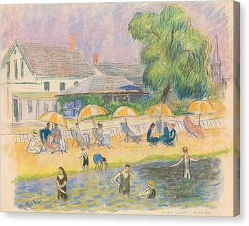 Beach Scenes Canvas Print - Beach Scene by William Glackens
