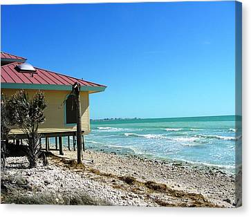Beach Shack Canvas Print by Peter  McIntosh