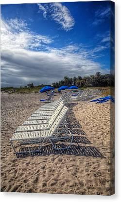 Adirondack Chairs On The Beach Canvas Print - Beach Shadows by Debra and Dave Vanderlaan