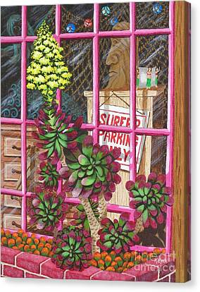 Canvas Print featuring the painting Beach Side Storefront Window by Katherine Young-Beck