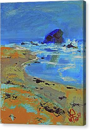 Canvas Print featuring the painting Beach Solitude by Walter Fahmy