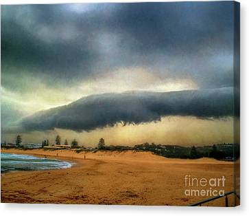 Canvas Print featuring the photograph Beach Storm At Sunset By Kaye Menner by Kaye Menner