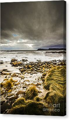 Sombre Canvas Print - Beach Storms And Turbulent Seas by Jorgo Photography - Wall Art Gallery