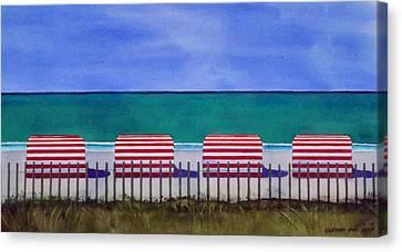 Beach Stripes Canvas Print by Cory Clifford