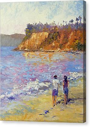 Beach Stroll Canvas Print by Terry  Chacon