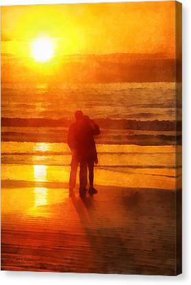 Canvas Print featuring the digital art Beach Sunrise Love by Francesa Miller