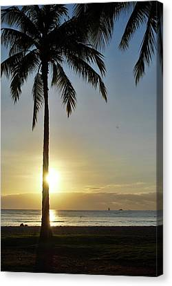 Canvas Print featuring the photograph Beach Sunset by Amee Cave