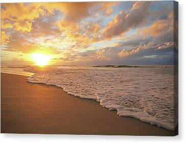 Beach Sunset With Golden Clouds Canvas Print