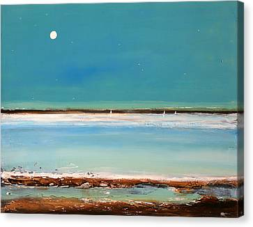 Moon Canvas Print - Beach Textures by Toni Grote