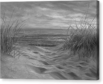 Cape Cod Scenery Canvas Print - Beach Time Serenade - Black And White by Lucie Bilodeau