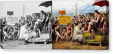 Beach - Toes Tenderly Treated 1922 - Side By Side Canvas Print by Mike Savad