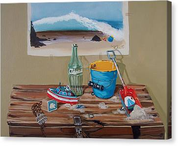 Canvas Print featuring the painting Beach Toys by Susan Roberts
