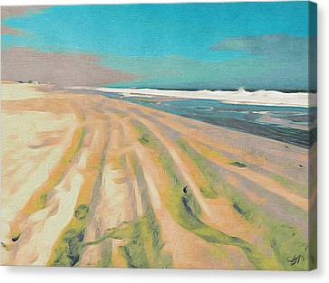 Beach Tracks Turquoise Canvas Print by Eliza McNally