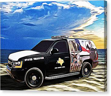 Beach Trooper 4x4 Cruiser On A Texas Morning Canvas Print by Chas Sinklier