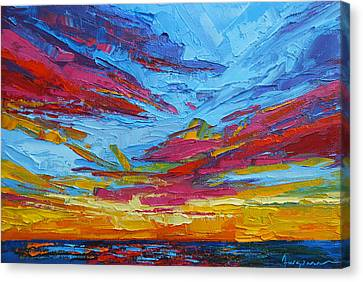 Beach Tropical Sunset Modern Impressionist Palette Knife Oil Painting Canvas Print