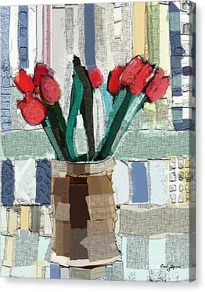 Beach Tulips Canvas Print by Carrie Joy Byrnes