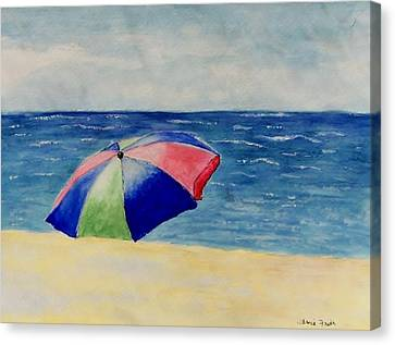 Canvas Print featuring the painting Beach Umbrella by Jamie Frier
