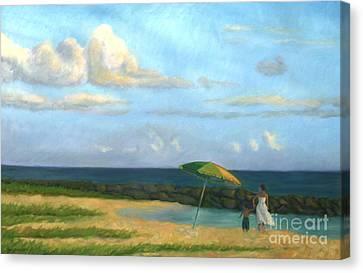 Beach Umbrella Canvas Print by Jane  Simonson