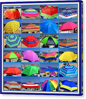Beach Umbrella Medley Canvas Print by Mitchell R Grosky