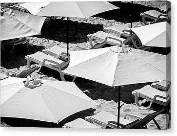 Canvas Print featuring the photograph Beach Umbrellas by Marion McCristall