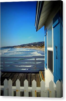 San Diego - Beach View From Crystal Pier Canvas Print by Glenn McCarthy