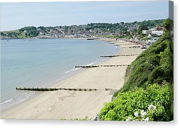 Beach View Swanage Bay Sandy Beach Jurassic Coast Dorset England Uk Canvas Print