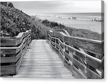 Beach Walk - Black And White Canvas Print