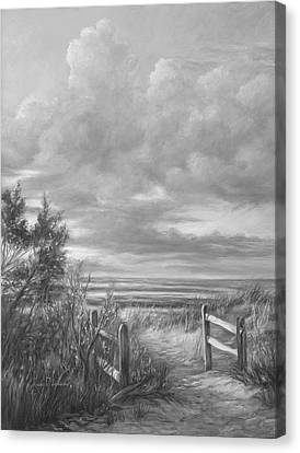 Beach Walk - Black And White Canvas Print by Lucie Bilodeau