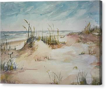 Beach Walk Canvas Print by Dorothy Herron