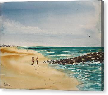 Beach Walk Canvas Print by Pete Maier