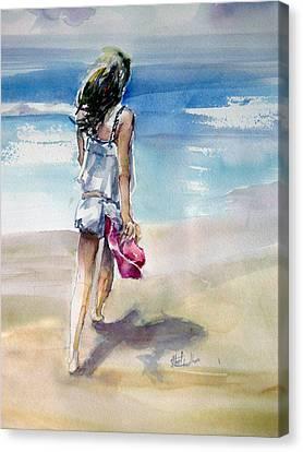 Beach Walk Canvas Print by Shirley Roma Charlton