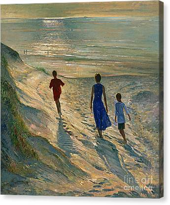 Beach Walk Canvas Print by Timothy Easton